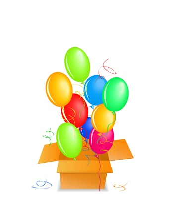 balloons out of the box up in the air. Birthday event Vector