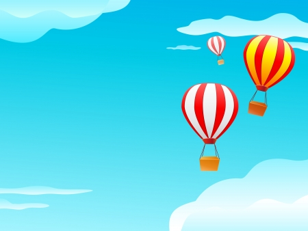balloon and clouds in blue sky. Illustration with blank space Vector
