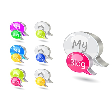 My Blog Bubble Icon Set Isolated on White Background. Vector Illustration Stock Vector - 20069396