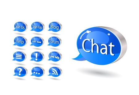 Chat, forum, blog, rss, help, mail bubble icon set. Vector illustration isolated on white background Stock Vector - 20069361