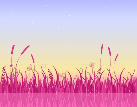 early in the evening: Morning on Lake with Pink Grass Silhouette. Vector Illustration Illustration