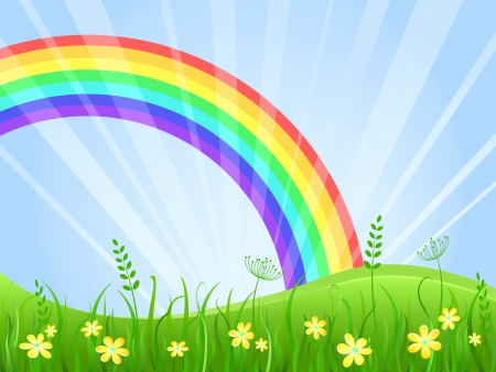 Summer Green Meadow with Yellow flowers. Landscape with Rainbow. Vector illustration. Stock Vector - 20069354