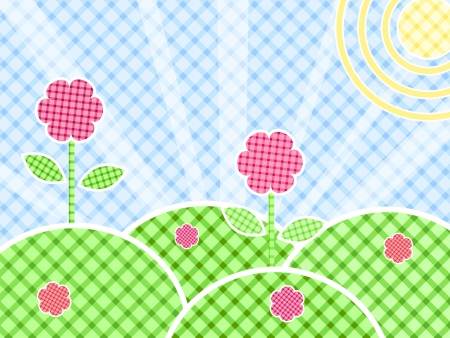 patchwork landscape: Grass And Flower On Green Meadow In Patchwork Style. Vector Iluustration Illustration