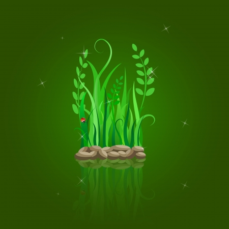 green grass on stone ground. Vector illustration with reflection on dark green background Stock Vector - 20069420