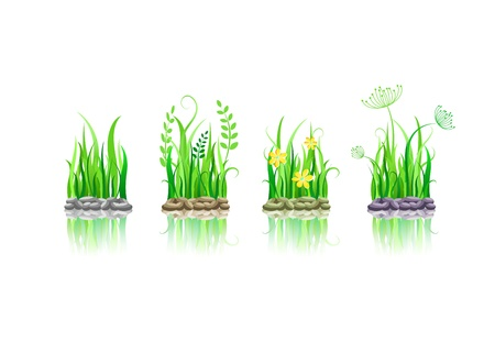 green grass on stone ground icon set. Vector illustration with reflection isolated on white Stock Vector - 20069399