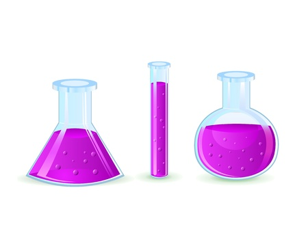 glass flasks with violet substance isolated on white background