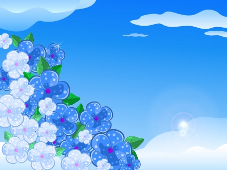 Blue and White Flowers In the Sky With Sunshine. Vector Illustration Stock Vector - 20069439