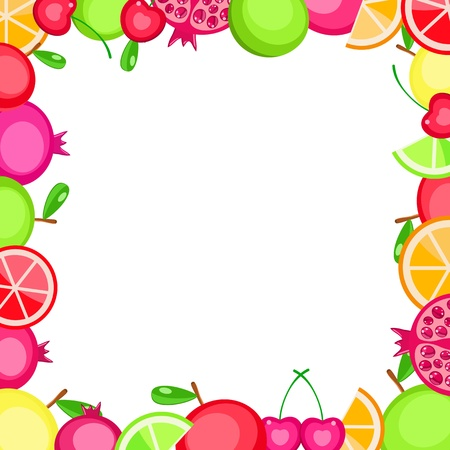 colorful vector fruits frame - apple orange cherry pomegranate - on white background