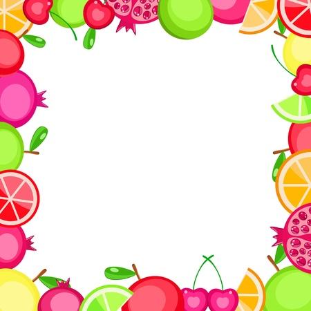 colorful vector fruits frame - apple orange cherry pomegranate - on white background