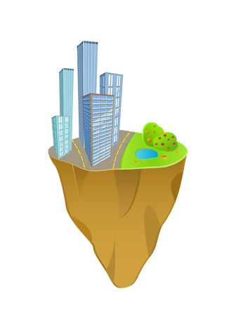 Buildings and Nature Concept on mini slice planet. Icon Isolated on White Background Vector