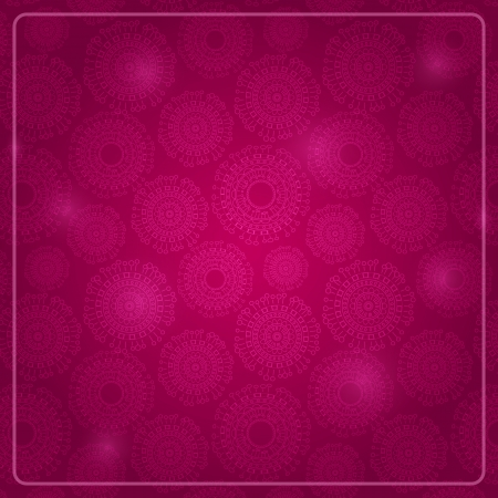 Purple Card with Round Elements and Shiny Dots. Vector