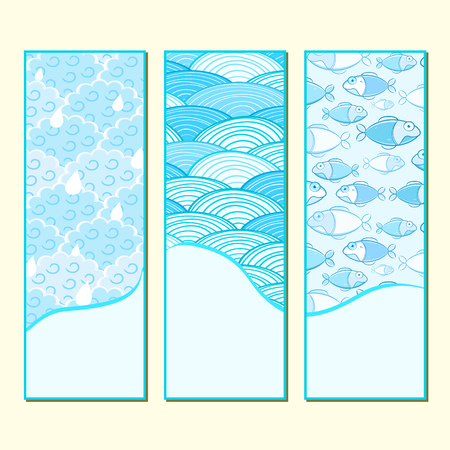 Blue Banner Set with Rain Clouds, Ocean Waves and Fish