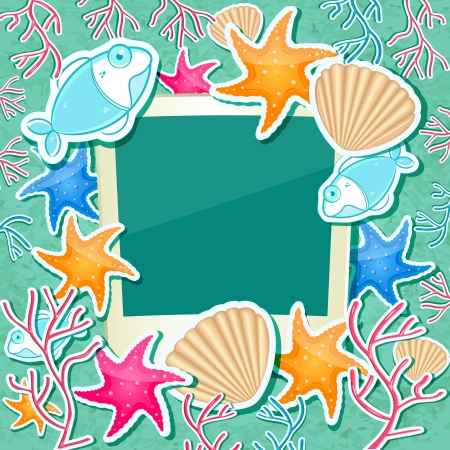 Blank Photo Frame with Fish Starfish Coral and Seashell   Sea Card Background Vector