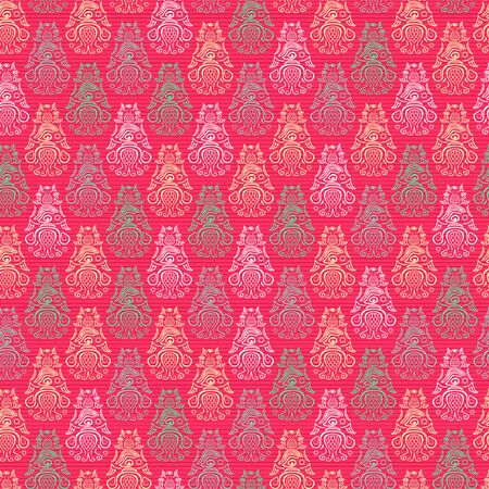 ordered: Vector Pink Seamless Pattern Background with Ordered Elements Stock Photo