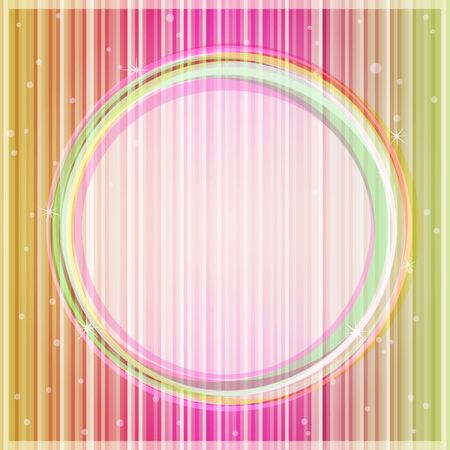 Pink Yellow Glowing Card with Light Round Label  Place for Text