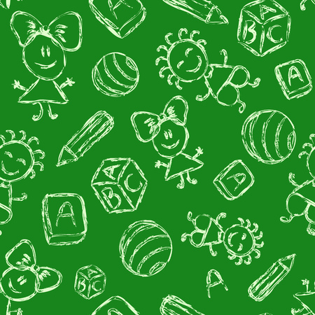 Hand Drawn Seamless Pattern with Chalk Silhouettes of Kids, Books and Balls  Vector illustration on Green Background illustration