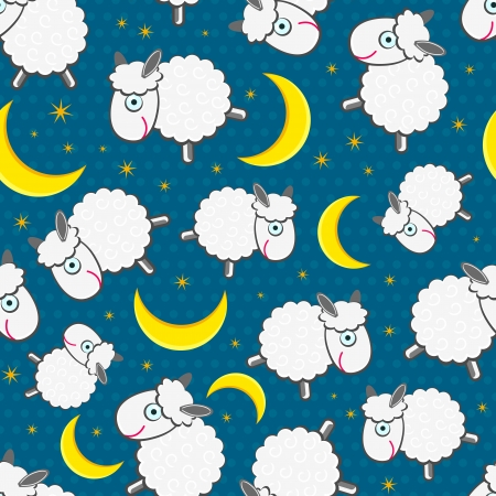 Cute White Sheeps and Yellow Moon Seamless Pattern on Light Blue Background photo