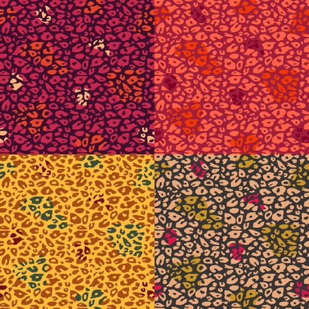 Colorful Cheetah Print Seamless Pattern Set  Vector Animal Background photo