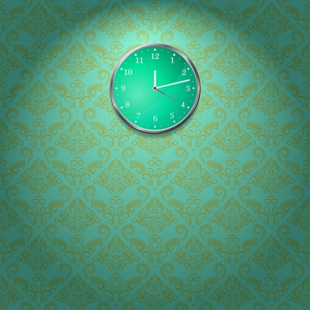 Wallpaper Wall and Clock in Room  Vector Illustration Stock Photo