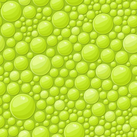 Green Bubbles Seamless Background with Shiny Soap Drops  Vector Illustration
