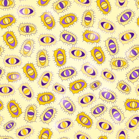Yellow Purple Seamless Abstract Pattern with Eyes and Bacteria photo