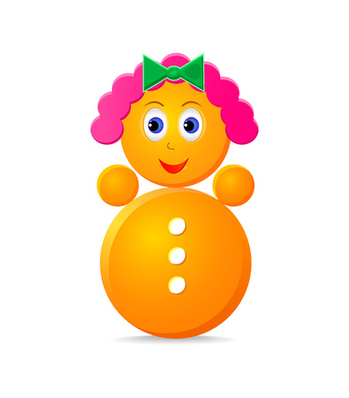 wobbly: roly-poly girl toy isolated on white background Stock Photo