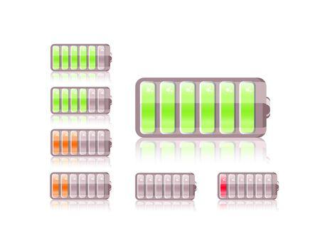 shiny battery icon set isolated on white background photo