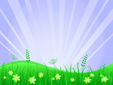 Beautiful green meadow scene  Vector Illustration of Grass at Lawn With Blue Sky Stock Illustration - 23928425