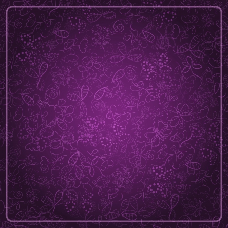 flowers black background: Abstract Dark Purple Card with Doodle Background  Vector Design Illustration
