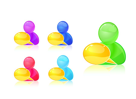 colorful people with dialog box icon set  eps10