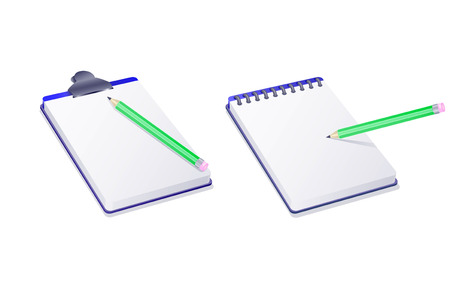 notepad notebook and pencil isolated on white background