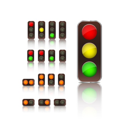red traffic light: traffic light icon set isolated on white background  vector illustration