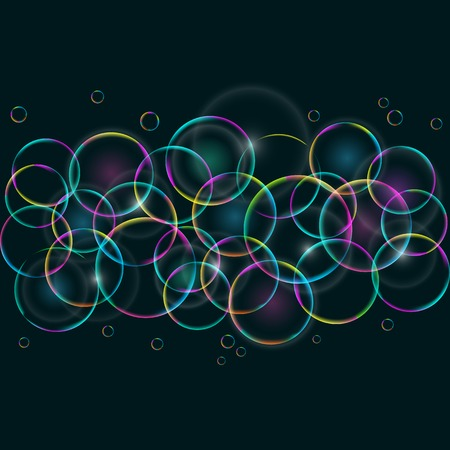 Abstract Colorful Card with Round Bubbles on Dark Background  Vector EPS10 Background Vector