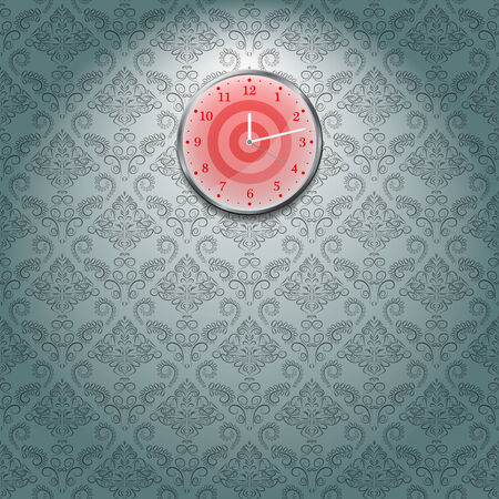 Grey Wallpaper and red Clock on Wall in Room  Vector Illustration Vector