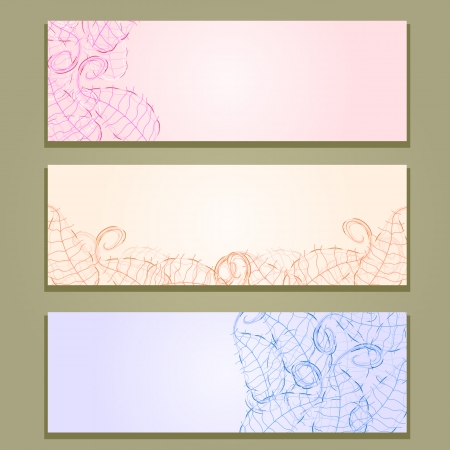 Floral Banner Set with Leaf Silhouettes on Light Background Vector