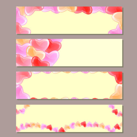 Banner Set with Transparent Red Pink Hearts on Valentine Day Illustration