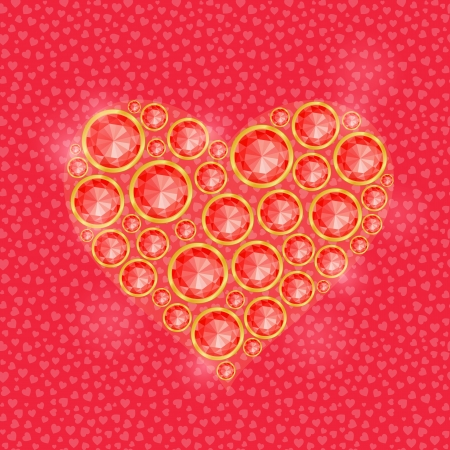 diamond stones: Big Red Heart Composed of Round Diamond Gem Stones. Valentine Greeting Card