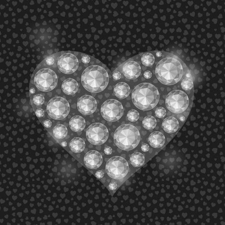 diamond stones: White Heart Filled with Diamond Gem Stones. Valentine Greeting Card Illustration