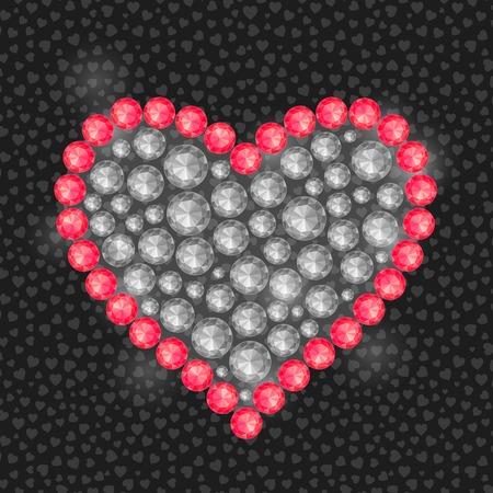 diamond stones: Black White Heart Composed of Round Diamond Gem Stones. Valentine Greeting Card