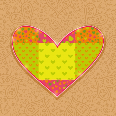 Hand Made Heart Stitch from Green and Pink Love Pattern Elements Vector