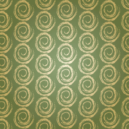 Gold Seamless Geometric Pattern on Warm Green Vintage Wallpaper Vector