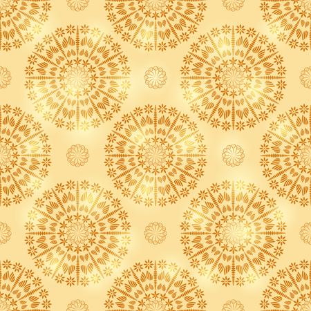 Gold Shiny Geometric Seamless Pattern with Mandala Element Illustration