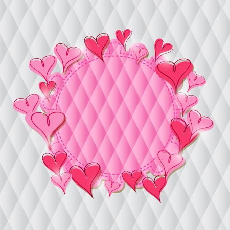 Pink Heart Label on Rhombus Pattern  Vector Illustration for Valentine Day Vector