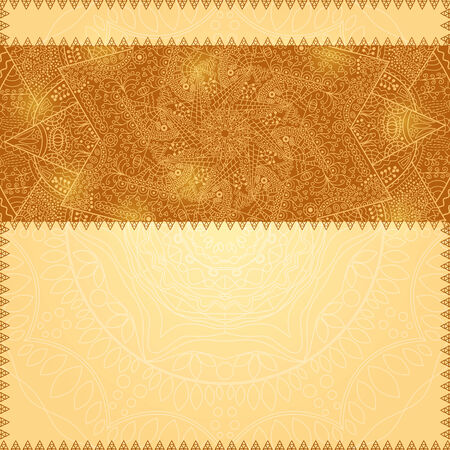 Beige Invitation Card with Lace Decoration Ribbon and Place for Text Vector