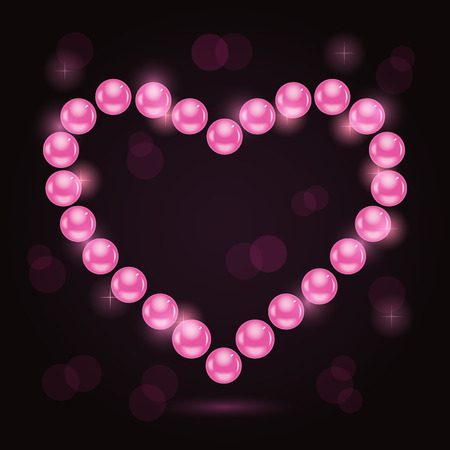 perle rose: Coeur rose Silhouette perle sur la carte de Valentaine. Vector Illustration