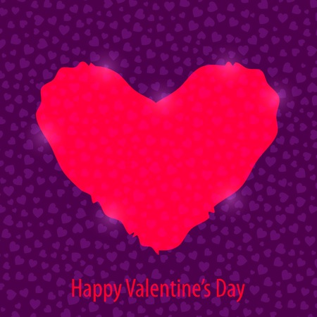Happy Valentines Day Background with Bright Pink Heart
