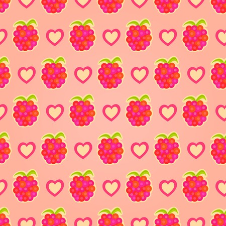 rasberry: Red Geometric Seamless Background with Rasberry and Heart. Vector Pattern Illustration