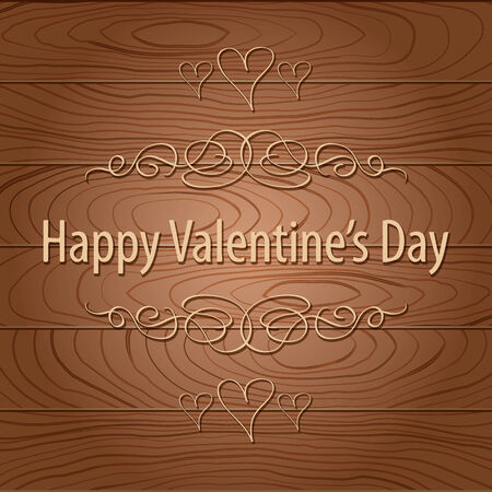 Happy Valentines Day Greeting over Wood Plank Brown Texture Background
