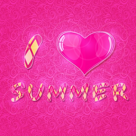 I Love Summer Lettering with Shiny Pink Heart on Abstract Swirl Background. Vector Conceptual Card