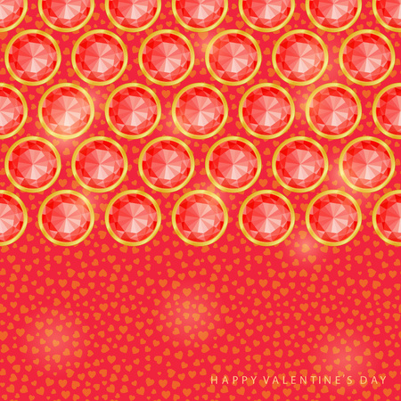 diamond stones: Red Round Diamond Gem Stones on Valentine Greeting Card Illustration